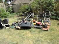 job lot lawn mowers and strimmers and cemente mixer and grass boxes spares repairs
