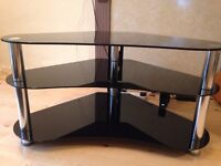 3-Tier TV Table Shelf Black Tempered Glass for 3D LCD LED Plasma TV Stand