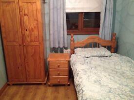 Single pine bed & wardrobe