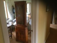 Yew veneered corner display cabinet, complete with two glass shelves
