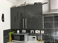 Kitchen units plus hob and extractor fan, plus sink & taps