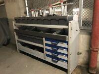 Sortimo Van/Office Racking system- 4 detachable metal sliding Drawers, 15 compatments & shelving