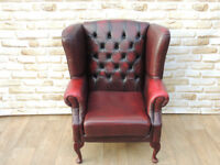 Ox Blood Leather Queen Anne Chair Chesterfield Great quality (Delivery)