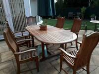 Solid wood Garden table with 6 armchairs and parasol