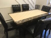 high gloss marble effect dining table set