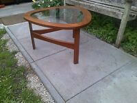 Vintage Nathan Teak & Glass Atomic Coffee Table c 1960s