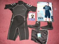 Mens Neoprene Shortie Wetsuit - size XL 44 and size 11 Diving Boots by Crivit.