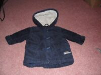 Baby boy BHS hooded corded navy coat 3-6 months