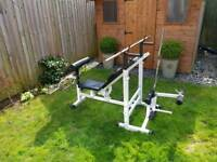 Weights bench, (also availavle cast weights ez bar, hammer bar)