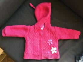 LOVELY CABLE KNIT BABY GIRLS' CARDIGANS 3-6 and 6-9 mths