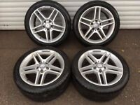17'' GENUINE MERCEDES C CLASS AMG ALLOY WHEELS TYRES 5X112 W204
