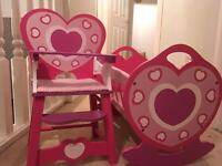 Beautiful doll set, crib and high chair.