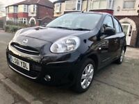 2011-SATNAV,BLACK NISSAN MICRA ACENTA-5DOORS 1.2- NEW SHAPE,55000 MILES,ONE OWNER,MOT DEC2018,ALLOYS