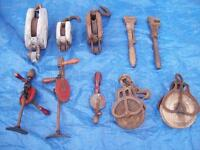 Antique Pullies, Block and Tackle,Pump, Wrench,PLANE, Drills+MOR