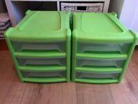 2 x Green Wham 3 drawer plastic storage unit for toys/books etc