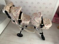 Roma Darcie Twin Dolls Pram with hand muff