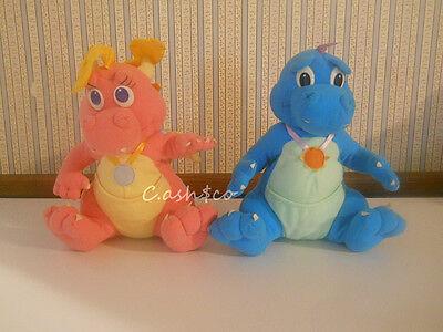 "Dragon Tales Playskool 1999 vintage plush Ord & Cassie 10"" tall  clean nice"