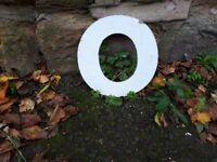 "Vintage Retro Reclaimed Salvage Shop Letters Pub Sign Industrial O o Letter ""O"" Silver Metal White"