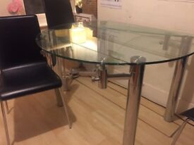 Beautiful Cargo glass drop leaf dining table