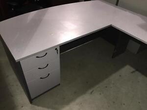 Grey Wood Desk w/ 3 Drawer Pedestal