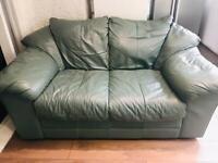 Khaki green leather sofa