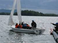 Wayfarer World Dingy, sails and launch trolley