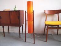 Vintage 1960s Teak & Spun Fibreglass Rocket Lamp (Rewired) Atomic Orange Mid Century Retro
