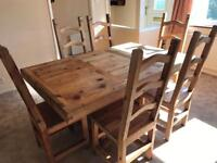 Mexican Oak Dining Table and Chairs