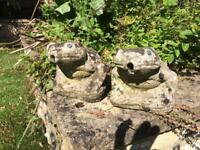 2x rustic frogs pond fountains