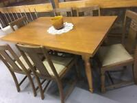 Hand made wood and glazed table with solid chairs x6