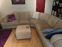5 seat leather corner sofa + ottoman with storage space