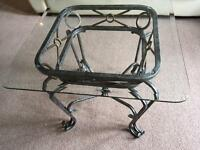 Wrought iron coffee / casual table with heavy glass top