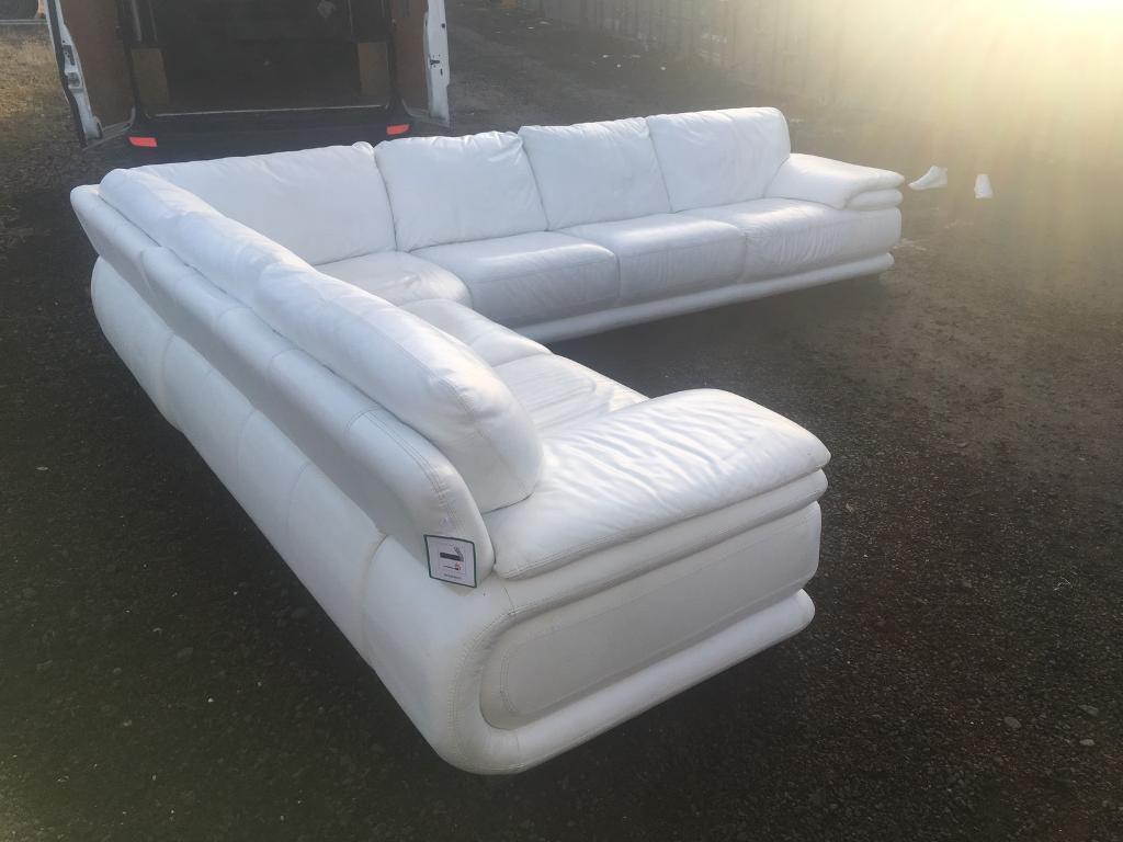 Remarkable Large White Corner Couch Chrome Feet 500 In Pollok Glasgow Gumtree Machost Co Dining Chair Design Ideas Machostcouk