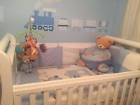 Almost new Boori Country Royale cot bed with full size drawer n new mattress from John leaves £250