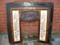 old cast iron fire surround with tiles,nice