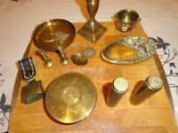 Selection of brass items