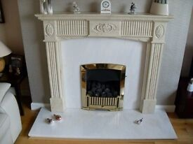 Marble Fireplace Surround and Cannon Opera Gas Fire. ( Can sell separately)