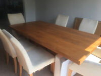 John Lewis Cherry Oak Dining room table and 6 white chairs