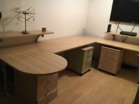 Modern corner office desk and matching tall shelf Excellent condition