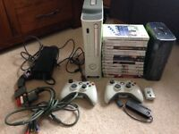 Xbox 360, 2 controllers, Wireless adaptor, 15 games