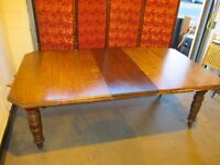 VICTORIAN SOLID OAK TELESCOPIC EXTENDING DINING TABLE WITH WINDER FREE DELIVERY