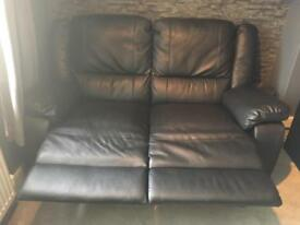 Leather reclining 2 seater settee