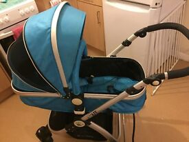 Ocean blue ISafe Travel system and car seat