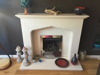 Cream Marble Fireplace with Gazco Gas Fire - Cost £1600 new