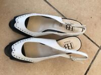 New Italian leather navy and white slingback shoes