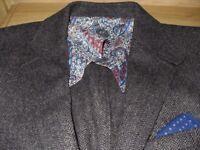 Mens Nigel Hall Grey Herringbone Blazer Jacket Wool Size 40