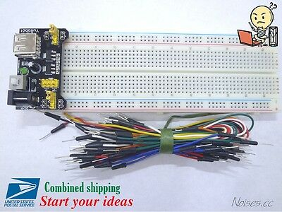 Mb-102 830 Point Prototype Pcb Breadboard Jump Wires Power Supply Arduino