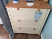 Cot bed with mattress, wardrobe & chest of draws