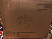 Brand new in the box, Back to wall D shaped toilet pan with seat from Bathstore - Newbury / Thatcham