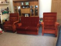 Parker Knoll Vintage 2 seater sofa and 2 reclining chairs.